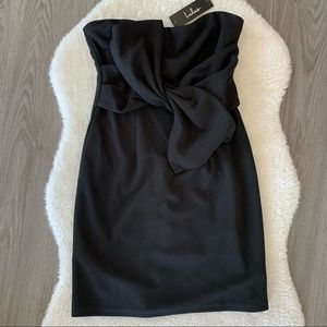 NWT Lulus Black Strapless Bow Bodycon Dress Small